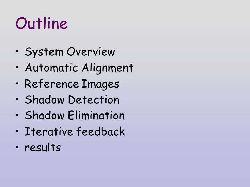 Outline System Overview Automatic Alignment Reference Images Shadow Detection Shadow Elimination Iterative feedback results