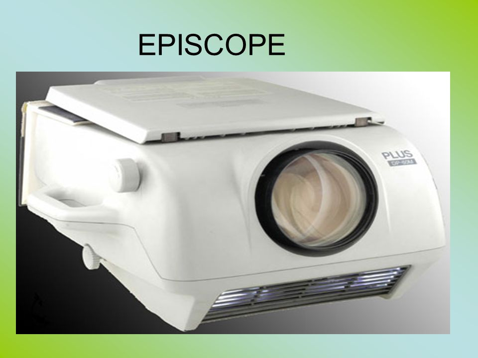 Episcope Used for projecting flat opaque images, like postcards, prints, photographs, pages of books, but also three-dimensional objects like coins, insects and leaves, on to a screen An epidiascope is a projector for showing both transparent slides and opaque objects.