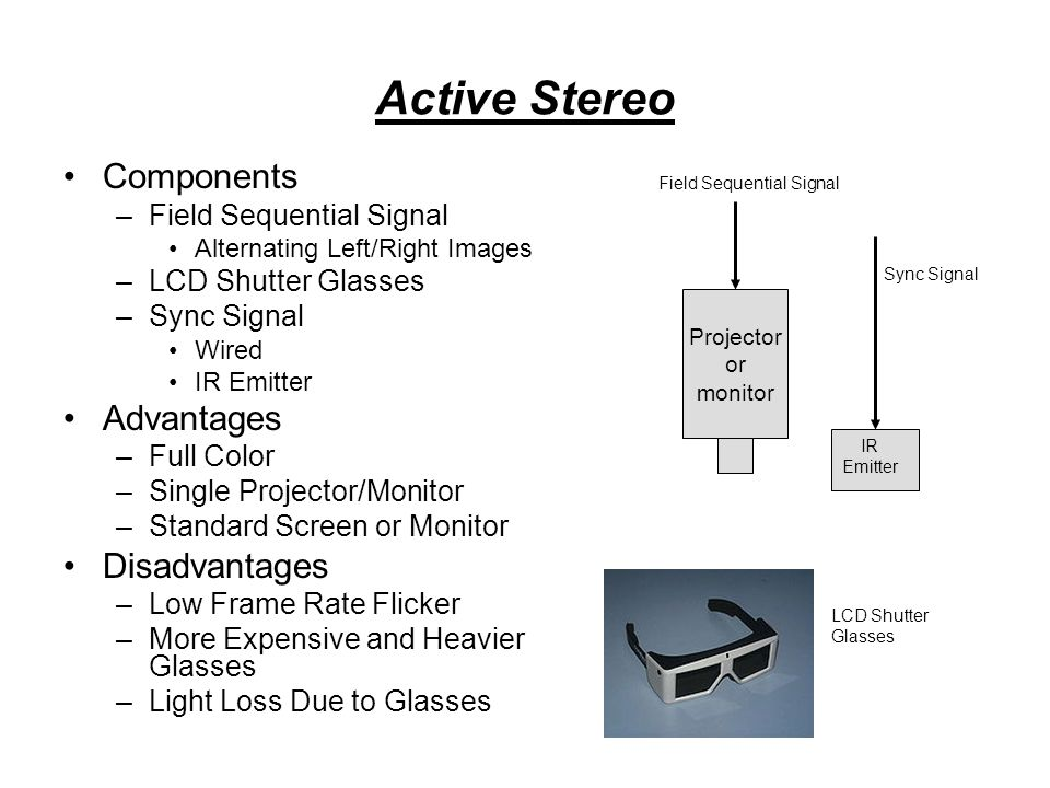 Active Stereo Components –Field Sequential Signal Alternating Left/Right Images –LCD Shutter Glasses –Sync Signal Wired IR Emitter Advantages –Full Color –Single Projector/Monitor –Standard Screen or Monitor Disadvantages –Low Frame Rate Flicker –More Expensive and Heavier Glasses –Light Loss Due to Glasses Projector or monitor Field Sequential Signal Sync Signal IR Emitter LCD Shutter Glasses