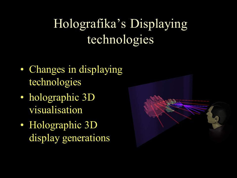 Holografika's Displaying technologies Changes in displaying technologies holographic 3D visualisation Holographic 3D display generations