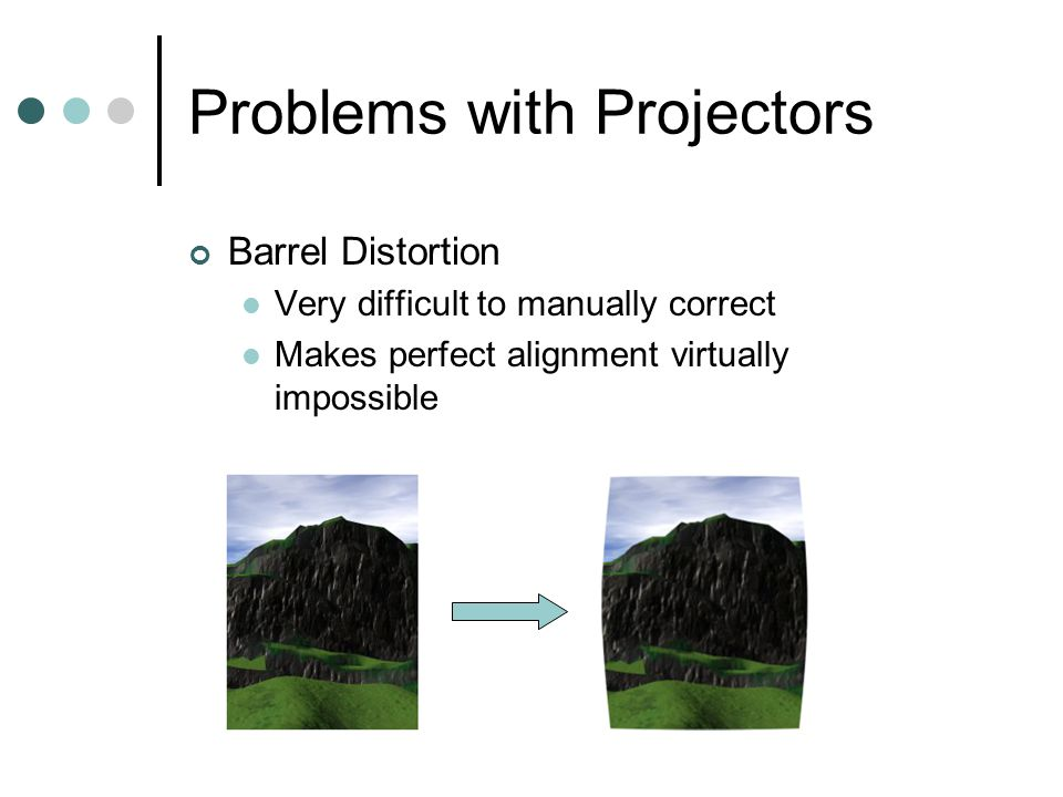 Problems with Projectors Other Problems Non-uniform Intensity Non-uniform Color Color difference between projectors