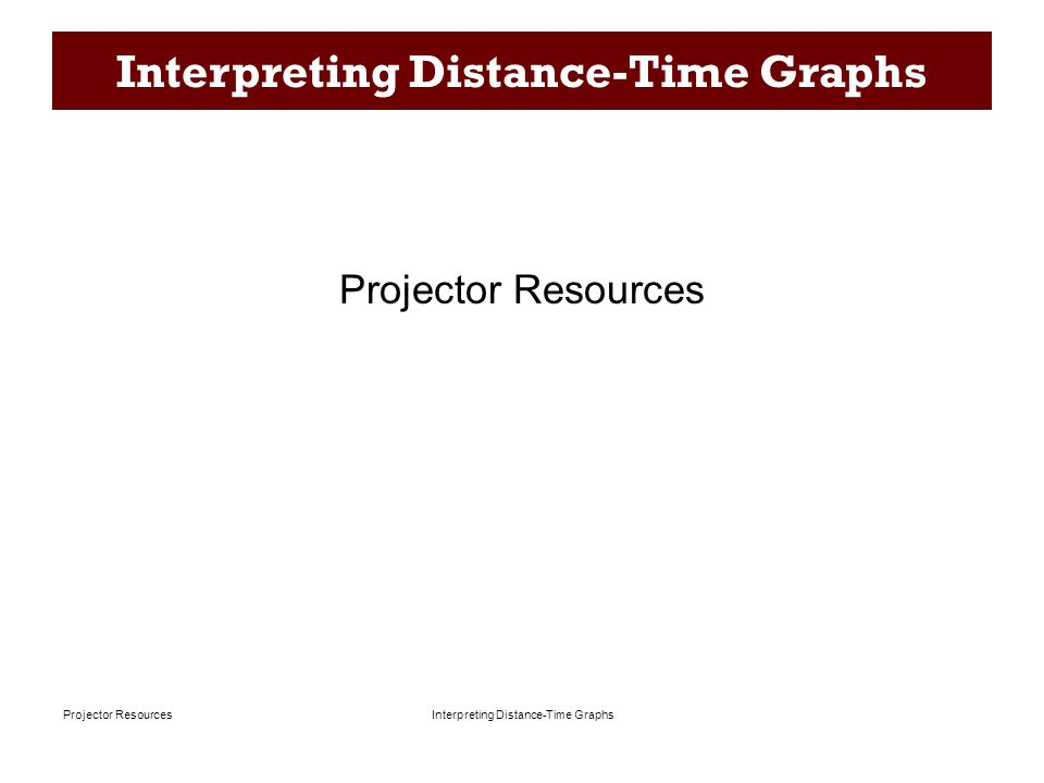 Interpreting Distance-Time Graphs Projector Resources Matching a Graph to a Story P-1 A.