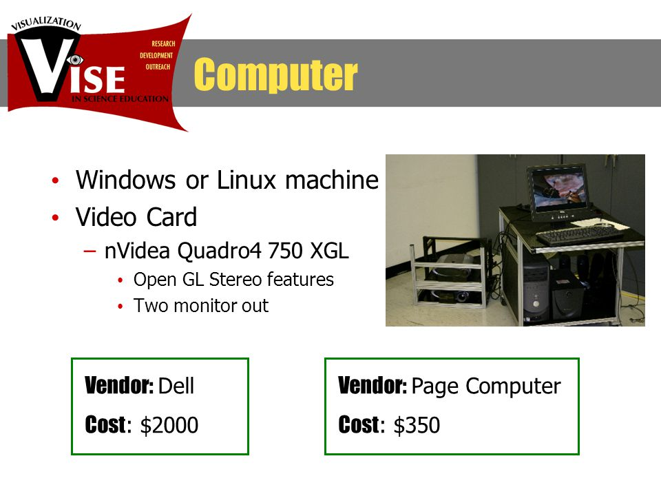 Windows or Linux machine Video Card –nVidea Quadro4 750 XGL Open GL Stereo features Two monitor out Computer Vendor: Dell Cost : $2000 Vendor: Page Computer Cost : $350