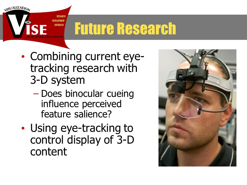 Combining current eye- tracking research with 3-D system –Does binocular cueing influence perceived feature salience.