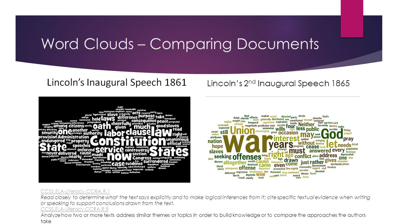 Word Clouds – Making Connections between past and present Lincoln's 2 nd Inaugural Speech 1865 CCSS.ELA-Literacy.CCRA.R.1 CCSS.ELA-Literacy.CCRA.R.1 Read closely to determine what the text says explicitly and to make logical inferences from it; cite specific textual evidence when writing or speaking to support conclusions drawn from the text.