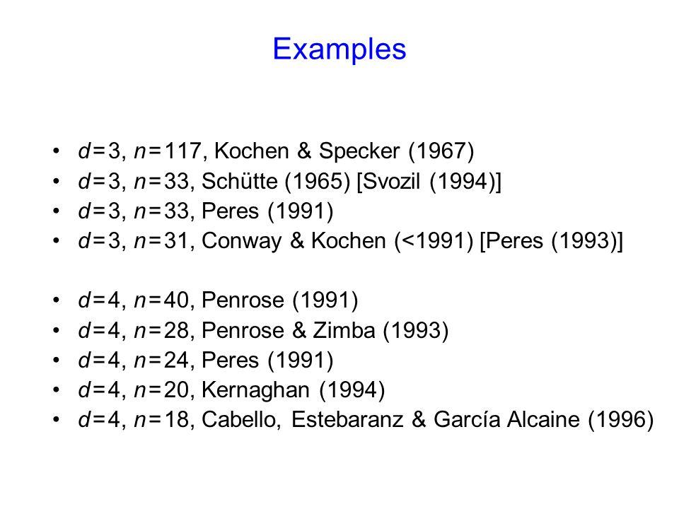 Examples d = 3, n = 117, Kochen & Specker (1967) d = 3, n = 33, Schütte (1965) [Svozil (1994)] d = 3, n = 33, Peres (1991) d = 3, n = 31, Conway & Kochen (<1991) [Peres (1993)] d = 4, n = 40, Penrose (1991) d = 4, n = 28, Penrose & Zimba (1993) d = 4, n = 24, Peres (1991) d = 4, n = 20, Kernaghan (1994) d = 4, n = 18, Cabello, Estebaranz & García Alcaine (1996)