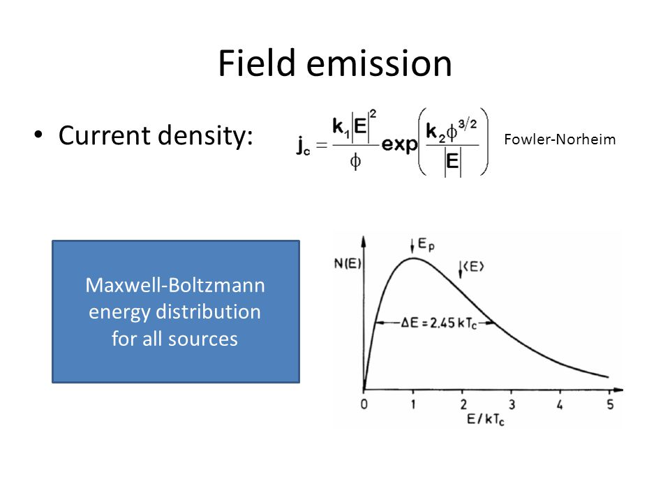 Field emission Current density: Fowler-Norheim Maxwell-Boltzmann energy distribution for all sources