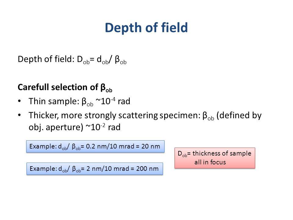 Depth of field: D ob = d ob / β ob Carefull selection of β ob Thin sample: β ob ~10 -4 rad Thicker, more strongly scattering specimen: β ob (defined b