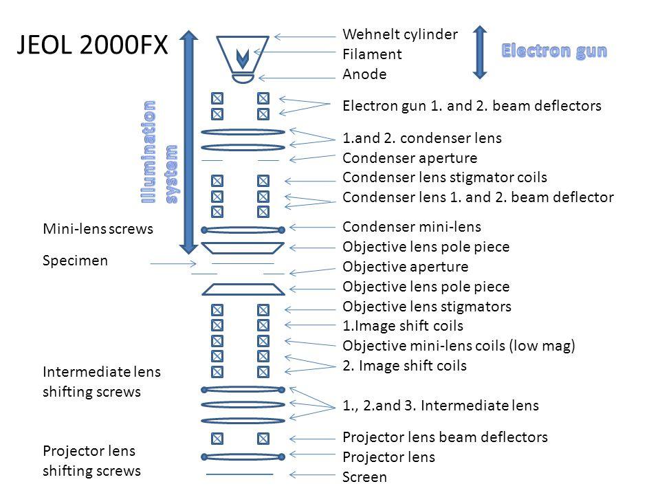 JEOL 2000FX Wehnelt cylinder Filament Anode Electron gun 1. and 2. beam deflectors 1.and 2. condenser lens Condenser aperture Condenser lens stigmator