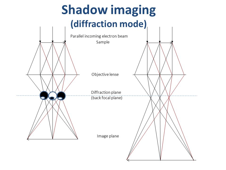 Shadow imaging (diffraction mode) Objective lense Diffraction plane (back focal plane) Image plane Sample Parallel incoming electron beam