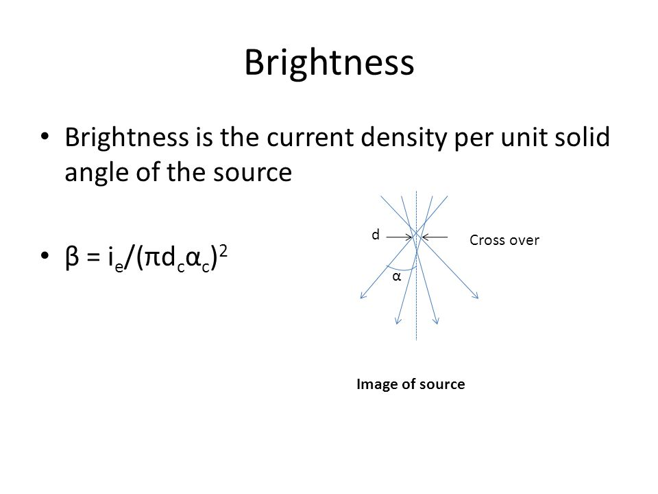 Brightness Brightness is the current density per unit solid angle of the source β = i e /(πd c α c ) 2 Cross over α d Image of source