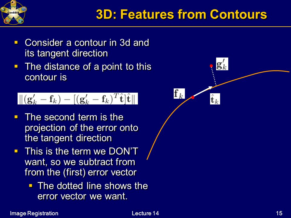 Image RegistrationLecture 14 15 3D: Features from Contours  Consider a contour in 3d and its tangent direction  The distance of a point to this contour is  The second term is the projection of the error onto the tangent direction  This is the term we DON'T want, so we subtract from from the (first) error vector  The dotted line shows the error vector we want.