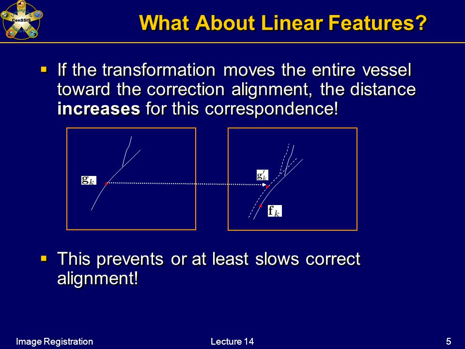 Image RegistrationLecture 14 5 What About Linear Features.