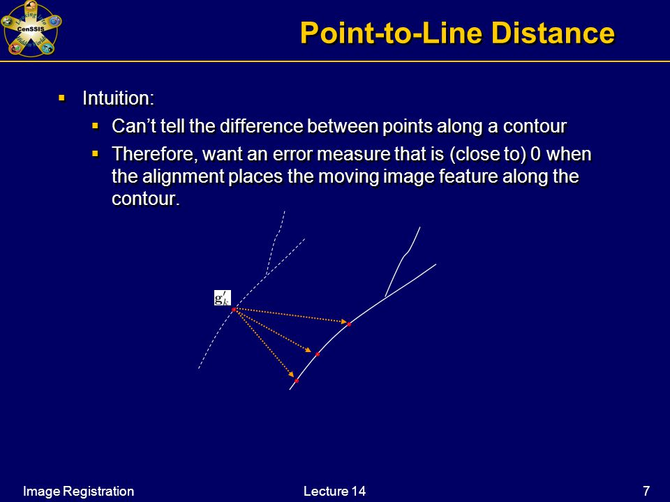 Image RegistrationLecture 14 7 Point-to-Line Distance  Intuition:  Can't tell the difference between points along a contour  Therefore, want an error measure that is (close to) 0 when the alignment places the moving image feature along the contour.
