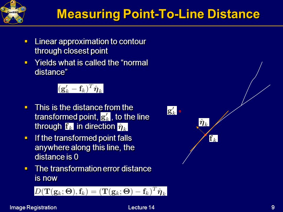 Image RegistrationLecture 14 9 Measuring Point-To-Line Distance  Linear approximation to contour through closest point  Yields what is called the normal distance  This is the distance from the transformed point,, to the line through in direction  If the transformed point falls anywhere along this line, the distance is 0  The transformation error distance is now  Linear approximation to contour through closest point  Yields what is called the normal distance  This is the distance from the transformed point,, to the line through in direction  If the transformed point falls anywhere along this line, the distance is 0  The transformation error distance is now