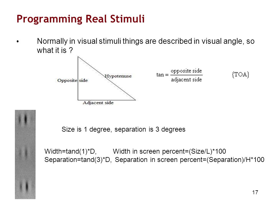 17 Programming Real Stimuli Normally in visual stimuli things are described in visual angle, so what it is .