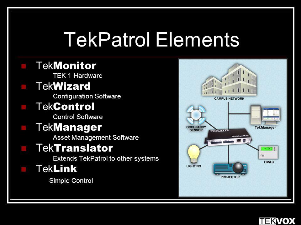 TekPatrol Elements Tek Monitor TEK 1 Hardware Tek Wizard Configuration Software Tek Control Control Software Tek Manager Asset Management Software Tek Translator Extends TekPatrol to other systems Tek Link Simple Control