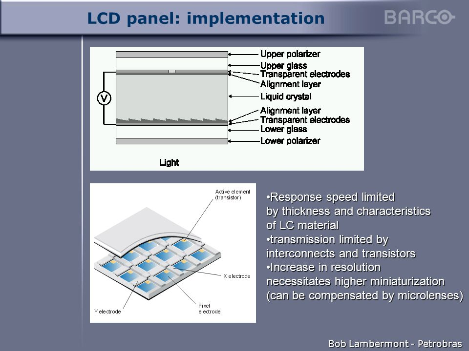 Bob Lambermont - Petrobras LCD panel: implementation Response speed limited by thickness and characteristics of LC materialResponse speed limited by thickness and characteristics of LC material transmission limited by interconnects and transistorstransmission limited by interconnects and transistors Increase in resolution necessitates higher miniaturization (can be compensated by microlenses)Increase in resolution necessitates higher miniaturization (can be compensated by microlenses)
