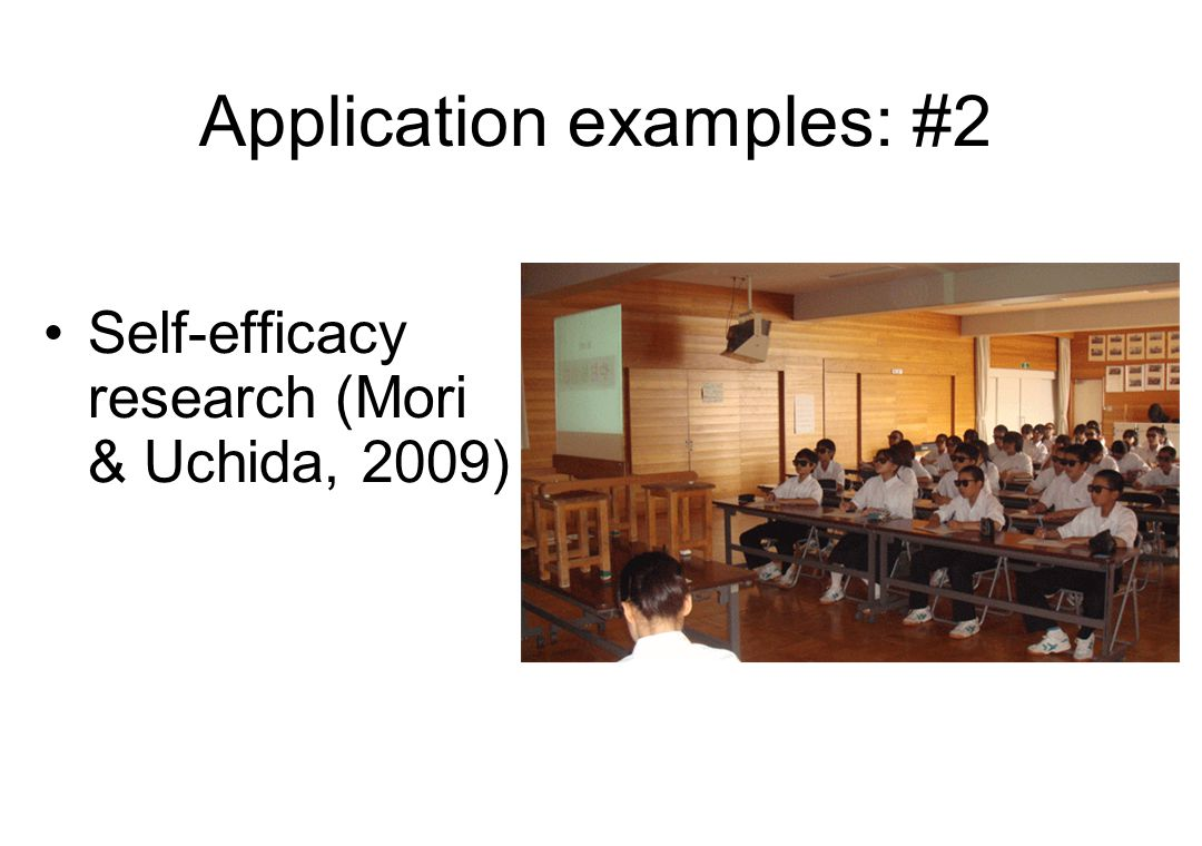 Application examples: #2 Self-efficacy research (Mori & Uchida, 2009)