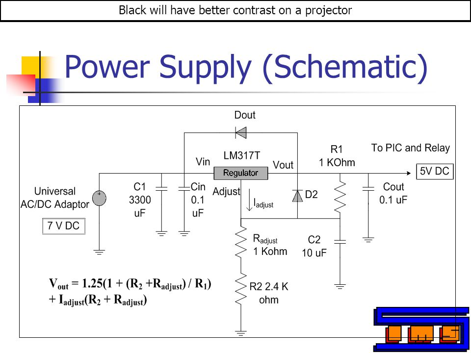 Power Supply (Schematic) Black will have better contrast on a projector