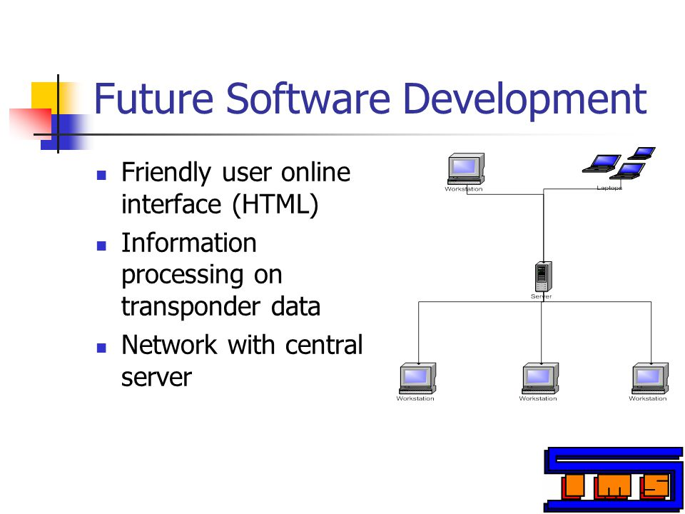 Future Software Development Friendly user online interface (HTML) Information processing on transponder data Network with central server