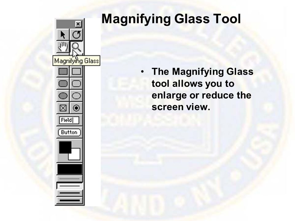 Magnifying Glass Tool The Magnifying Glass tool allows you to enlarge or reduce the screen view.