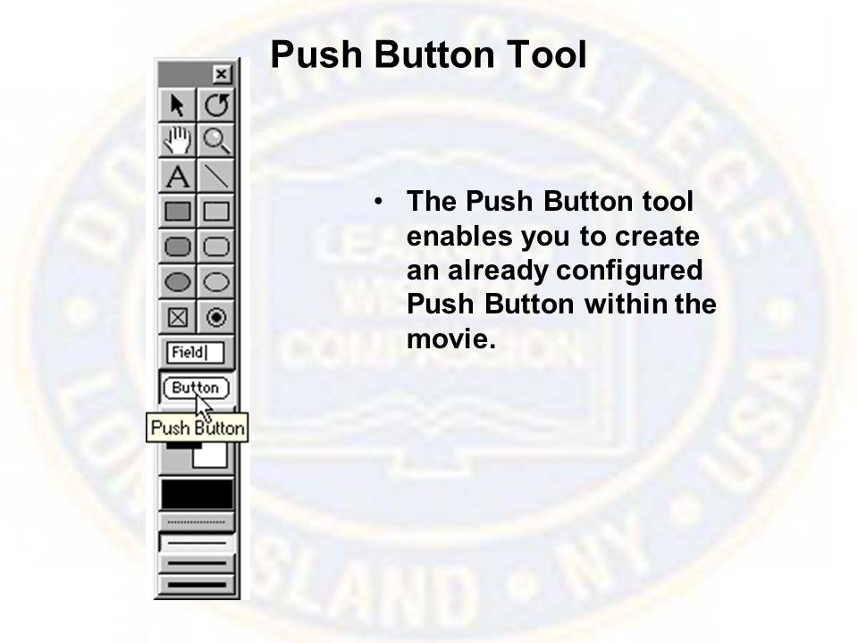 Push Button Tool The Push Button tool enables you to create an already configured Push Button within the movie.