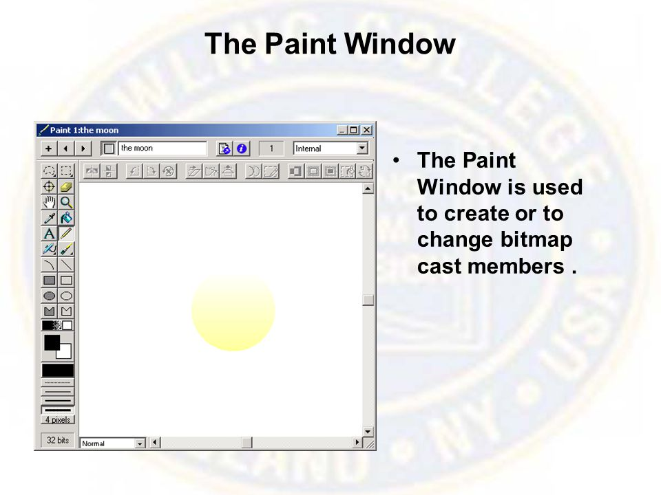 The Paint Window The Paint Window is used to create or to change bitmap cast members.