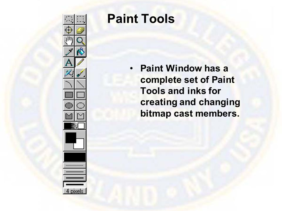 Paint Tools Paint Window has a complete set of Paint Tools and inks for creating and changing bitmap cast members.