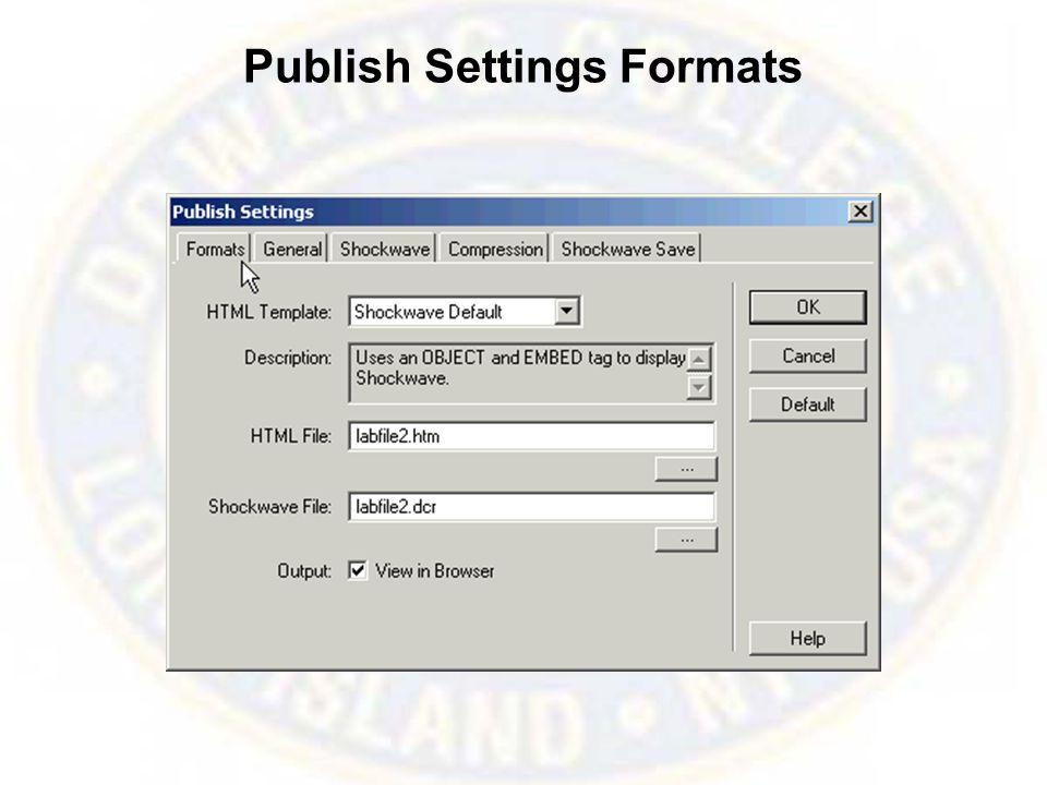 Publish Settings Formats