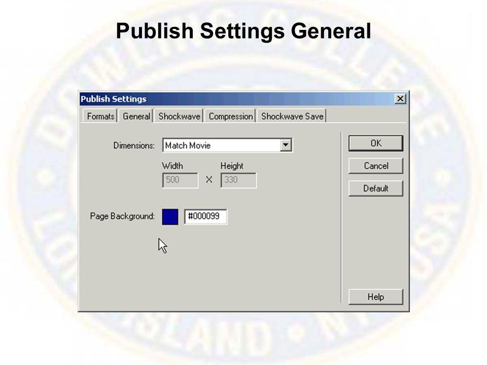 Publish Settings General