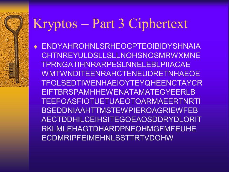 Kryptos – Part 3 Ciphertext  ENDYAHROHNLSRHEOCPTEOIBIDYSHNAIA CHTNREYULDSLLSLLNOHSNOSMRWXMNE TPRNGATIHNRARPESLNNELEBLPIIACAE WMTWNDITEENRAHCTENEUDRET