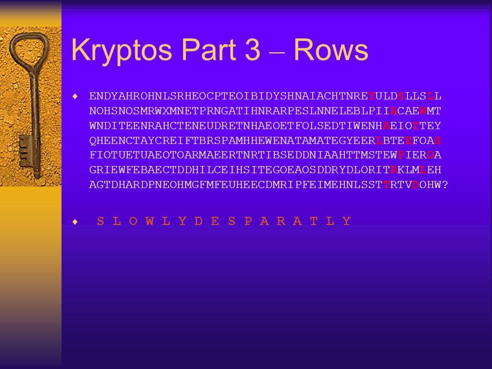 Kryptos Part 3 – Rows  ENDYAHROHNLSRHEOCPTEOIBIDYSHNAIACHTNREYULDSLLSLL NOHSNOSMRWXMNETPRNGATIHNRARPESLNNELEBLPIIACAEWMT WNDITEENRAHCTENEUDRETNHAEOET