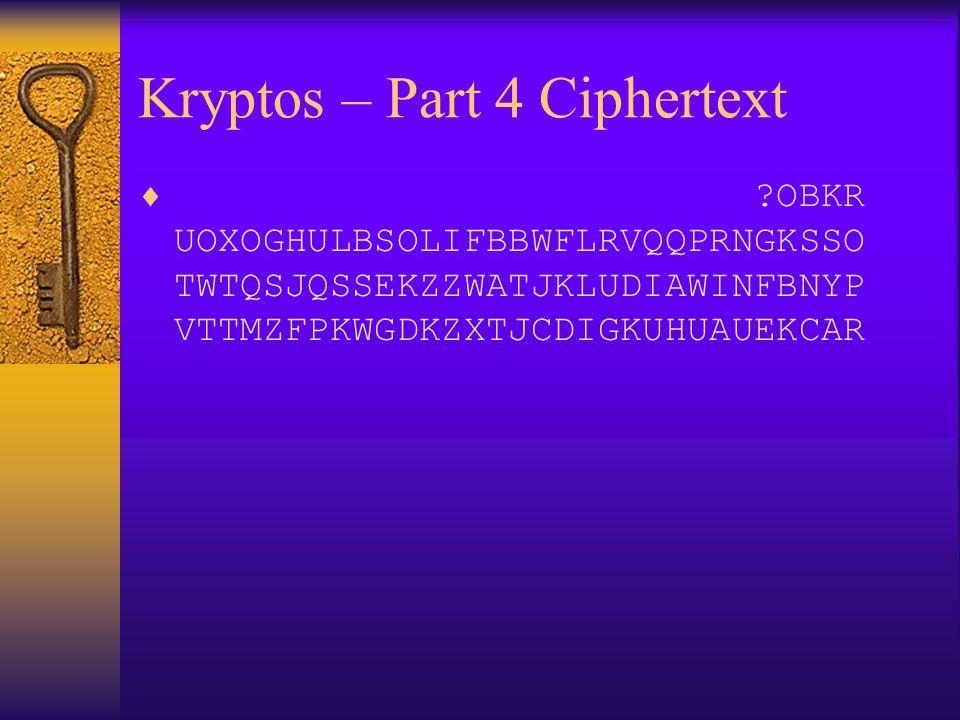 Kryptos – Part 4 Ciphertext  ?OBKR UOXOGHULBSOLIFBBWFLRVQQPRNGKSSO TWTQSJQSSEKZZWATJKLUDIAWINFBNYP VTTMZFPKWGDKZXTJCDIGKUHUAUEKCAR