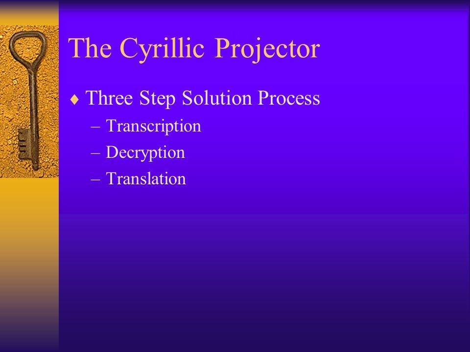 The Cyrillic Projector  Three Step Solution Process –Transcription –Decryption –Translation