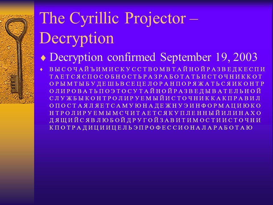 The Cyrillic Projector – Decryption  Decryption confirmed September 19, 2003  B Ы C O Ч A Й Ъ И M И C К У C C T B O M B T A Й H O Й P A З B E Д К E