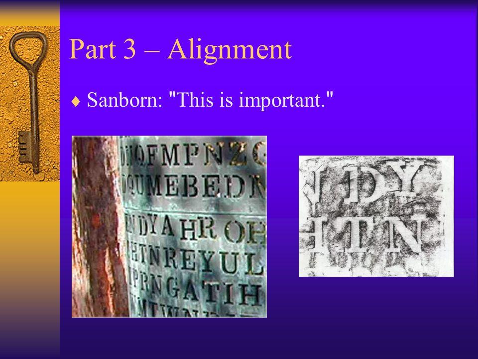 Part 3 – Alignment  Sanborn: