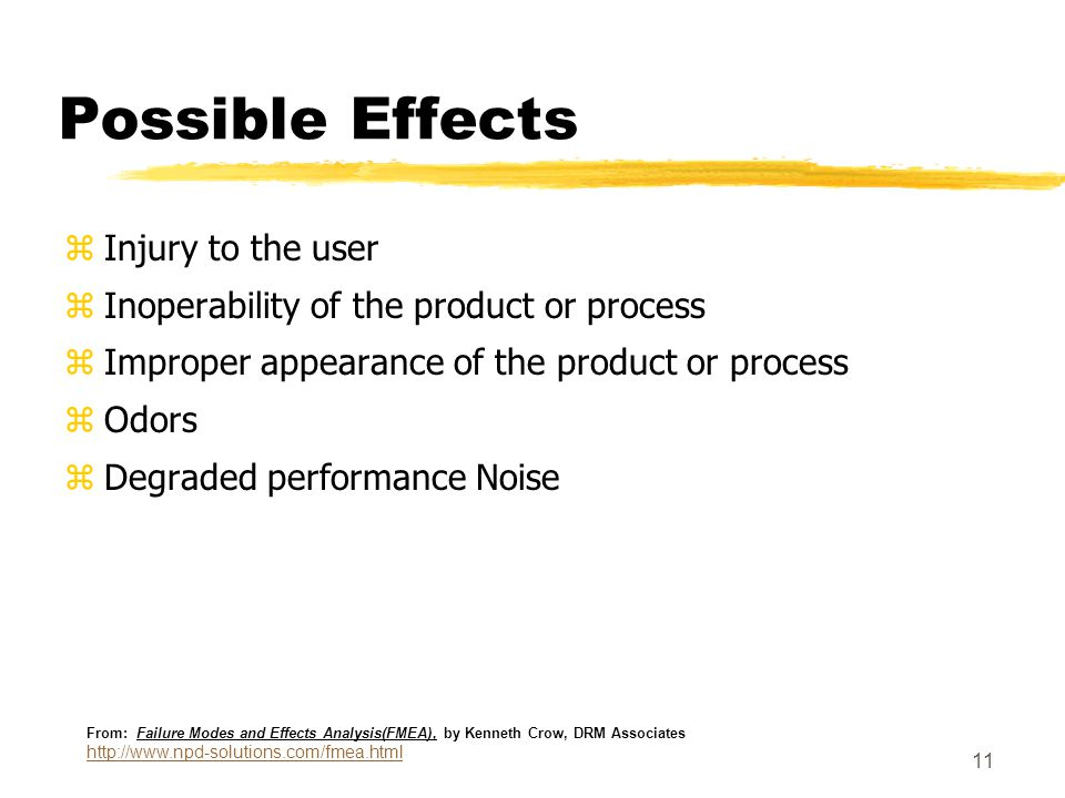 11 Possible Effects zInjury to the user zInoperability of the product or process zImproper appearance of the product or process zOdors zDegraded performance Noise From: Failure Modes and Effects Analysis(FMEA), by Kenneth Crow, DRM Associates http://www.npd-solutions.com/fmea.html