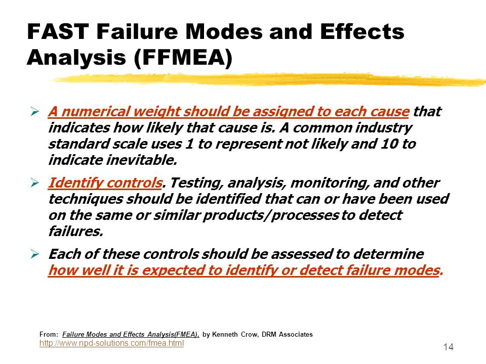 14 FAST Failure Modes and Effects Analysis (FFMEA)  A numerical weight should be assigned to each cause that indicates how likely that cause is. A co