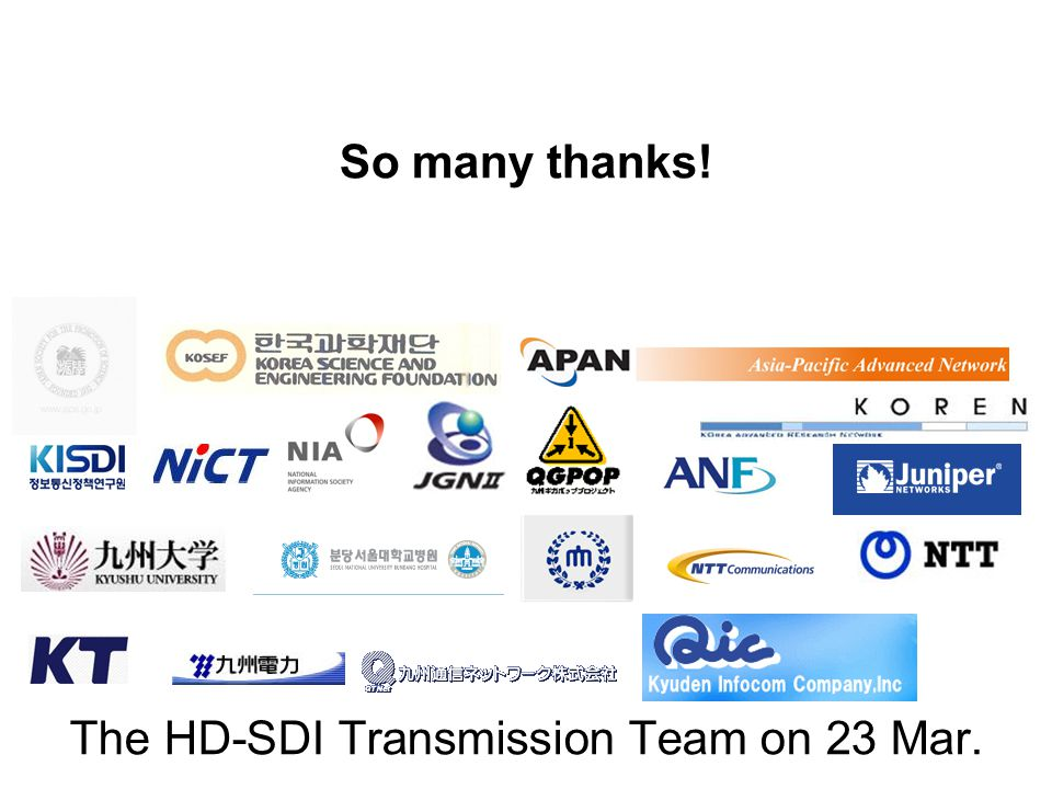 So many thanks! The HD-SDI Transmission Team on 23 Mar.