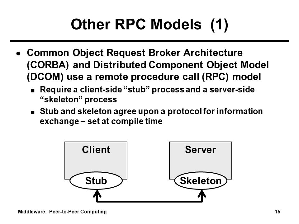 Middleware: Peer-to-Peer Computing 15 Other RPC Models (1) ● Common Object Request Broker Architecture (CORBA) and Distributed Component Object Model (DCOM) use a remote procedure call (RPC) model ■ Require a client-side stub process and a server-side skeleton process ■ Stub and skeleton agree upon a protocol for information exchange – set at compile time Client Stub Server Skeleton