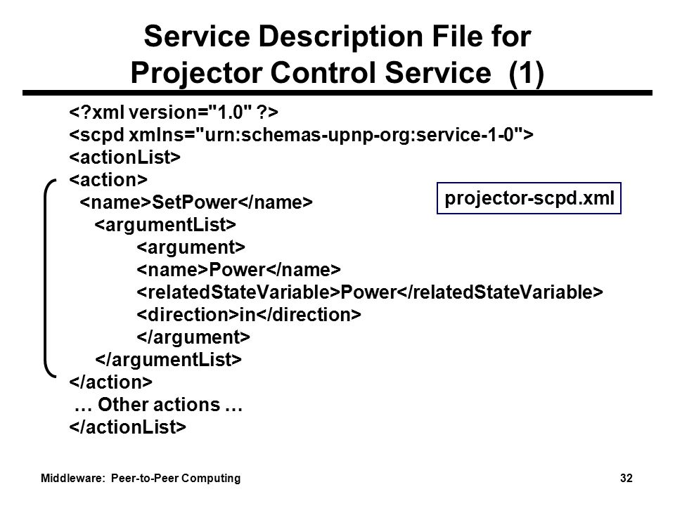 Middleware: Peer-to-Peer Computing 32 Service Description File for Projector Control Service (1) SetPower Power in … Other actions … projector-scpd.xml