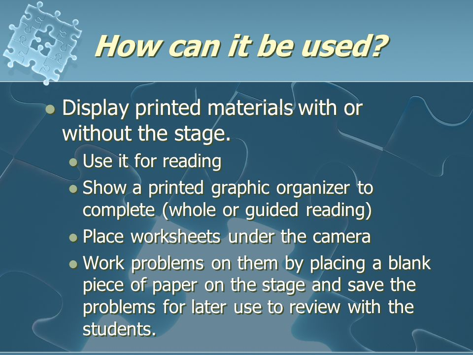 How can it be used.Display printed materials with or without the stage.