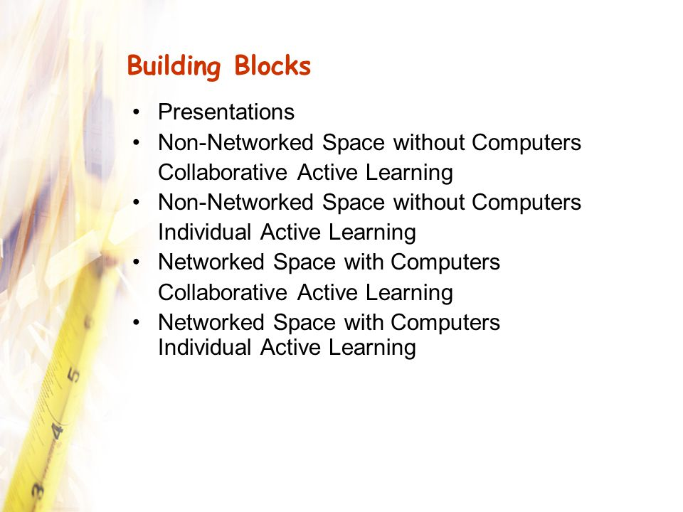 Conclusion Let learning guide design Promote engagement Make the square peg fit into the round role Don't let technology or space lock you into one kind of teaching or certain types of learning activities Look for design and technology tools that increase flexibility Network with colleagues