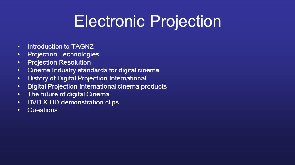 Technical Audio Group NZ Ltd Technical Audio Group or TAGNZ is the New Zealand importer of a number of premium cinema related products including Digital Projection International DLP projectors and Martin Audio sound systems.