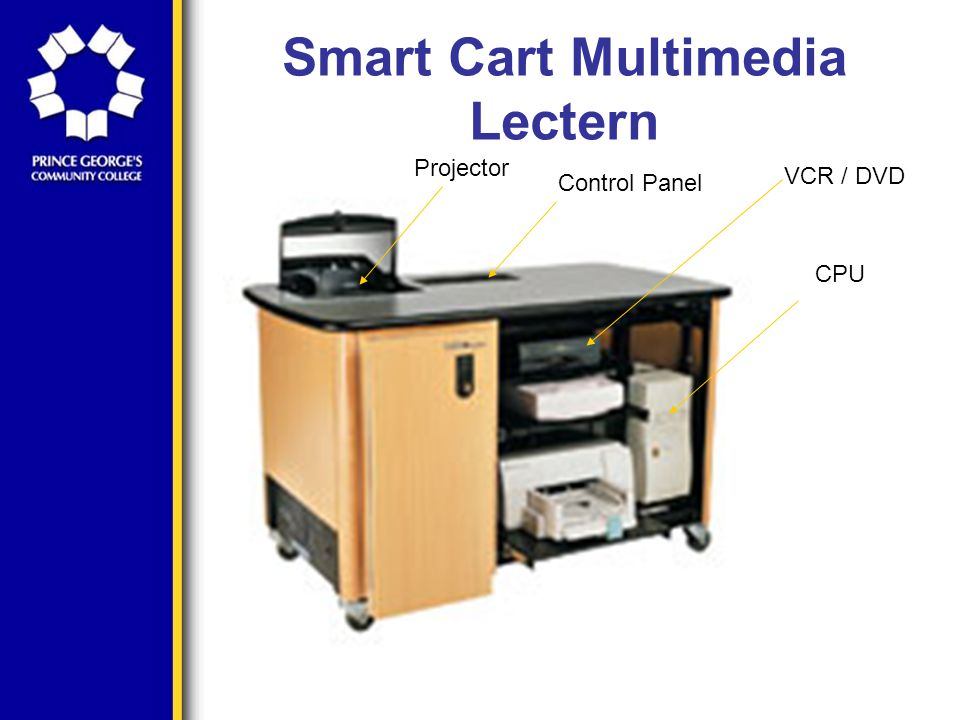Smart Cart Multimedia Lectern You can then use the switch located at the upper left of the connections to toggle between the laptop screen and the onboard computer screen.