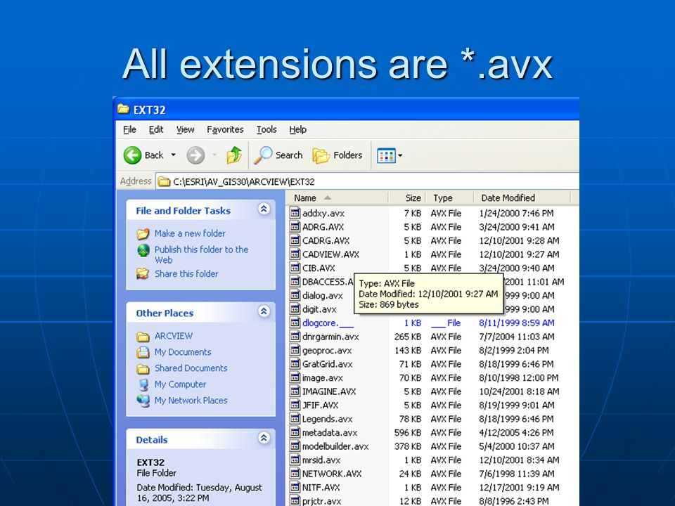 All extensions are *.avx