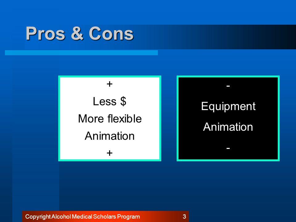 Copyright Alcohol Medical Scholars Program 3 Pros & Cons + Less $ More flexible Animation + - Equipment Animation -