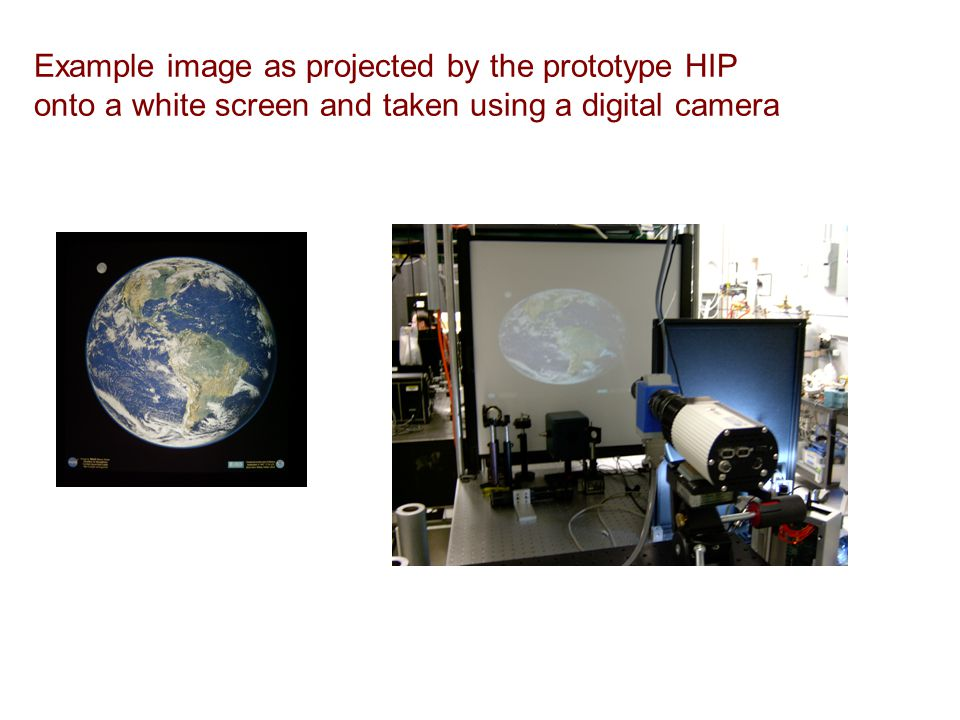 Example image as projected by the prototype HIP onto a white screen and taken using a digital camera