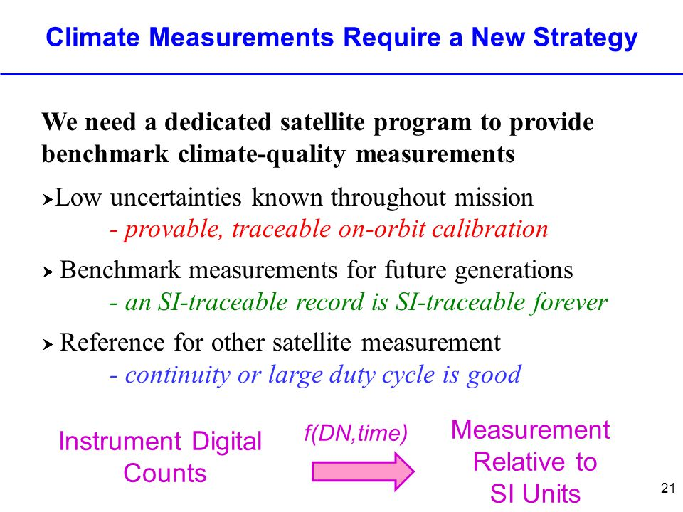 21 Climate Measurements Require a New Strategy We need a dedicated satellite program to provide benchmark climate-quality measurements  Low uncertain